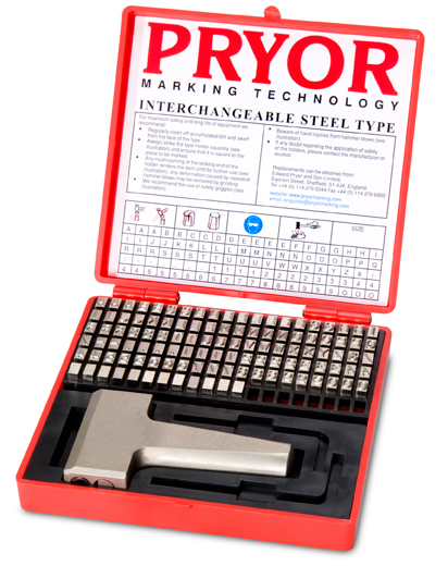 Pryor Marking Interchangeable Steel Type Fount Set